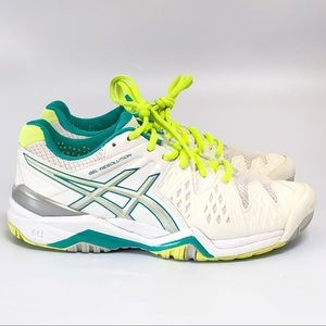 ASICS Tennis Shoes Women's SZ 6.5, white/gray/blue
